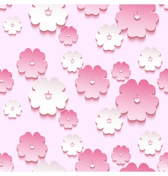 Spring background seamless pattern 3d sakura vector