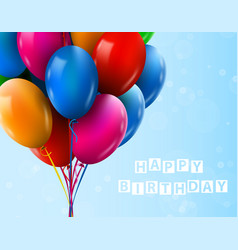 3d realistic colorful bunch of birthday balloons vector