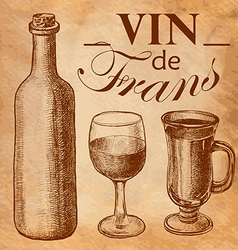 Sketch wine bottle and glass vector