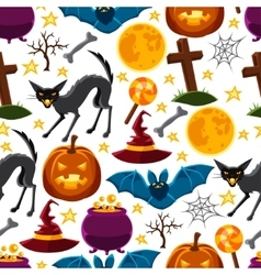 Happy halloween seamless pattern with characters vector