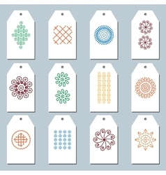 Set of folk embroidery gift tags vector