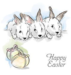 Easter card with three rabbits vector