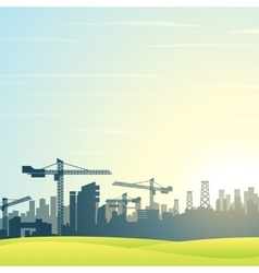 Modern city skyline buildings construction vector