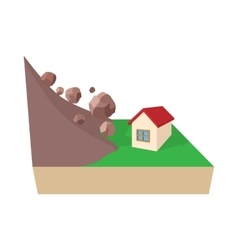 House hit by rockfall icon cartoon style vector