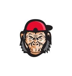 Angry chimpanzee head baseball cap retro vector