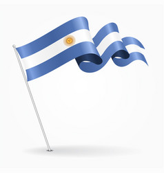 Argentinean pin wavy flag vector