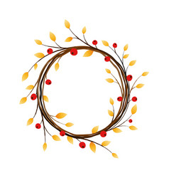 autumn wreath on white background vector image