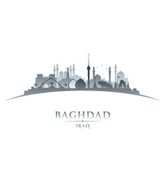 Baghdad iraq city skyline silhouette white vector