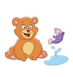bear and fish vector image vector image