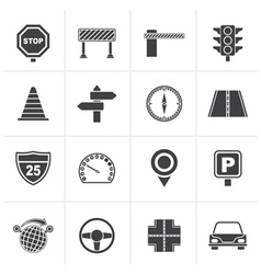 Black Road and Traffic Icons vector image