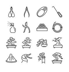 Bonsai line icon set vector