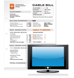 Cable TV Service Bill with Flat Plasma LED LCD TV vector image vector image