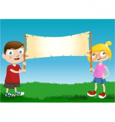 children with message board vector image vector image