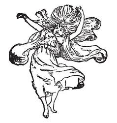Fairy wild on hills vintage engraving vector