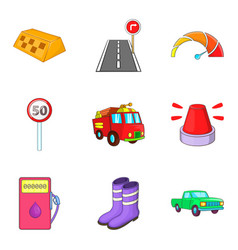 Fast driving icons set cartoon style vector