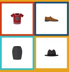 Flat icon garment set of panama t-shirt stylish vector