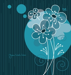 Floral background with cartoon bird vector image vector image