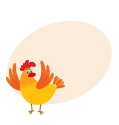 Funny cartoon chicken hen surprised or jumping vector