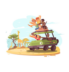 Group of tourists on safari vector