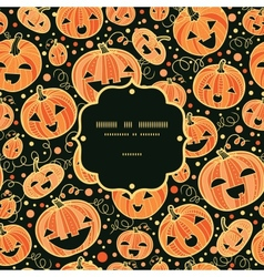 Halloween pumpkins frame seamless pattern vector