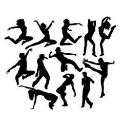 Happy hip hop dancing activity silhouettes vector