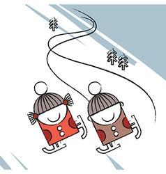 Ice skating kids vector image vector image