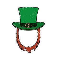 Irish elf hat with beard isolated icon vector