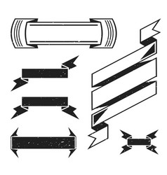 monochrome retro ribbons set vector image vector image