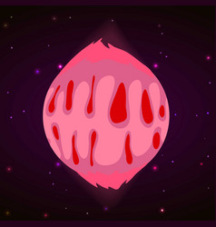 Pink planet concept background cartoon style vector