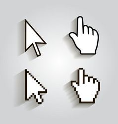 Pixel cursors icons mouse hand arrow vector