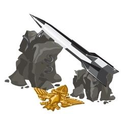 Rocket launcher and golden insignia vector