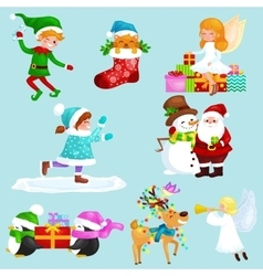 Santa claus snowman hats children enjoy winter vector