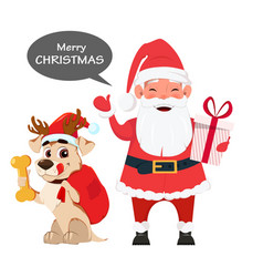 Santa holding gift box and with cute dog sitting vector