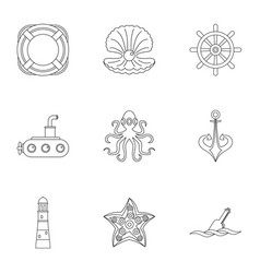 sea adventure icons set outline style vector image vector image
