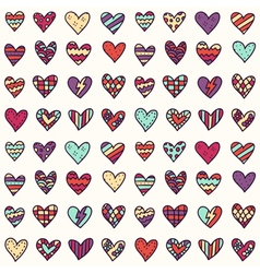 seamless pattern with colorful doodle hearts - St vector image