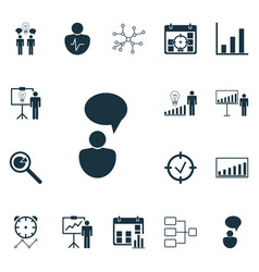 Set of 16 executive icons includes company vector