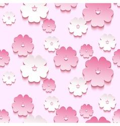 Spring background seamless pattern 3d sakura vector