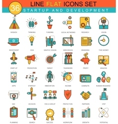 Startup and development flat line icon set vector image