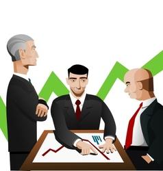 Three businessmen discussing diagram vector