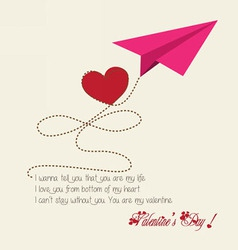 Valentine greeting hearts paper airplane vector