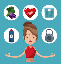 Woman meditation exercise healthy icons vector