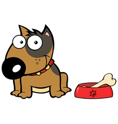 Smiling Brown Bull Terrier Dog With Bowl And Bone vector image