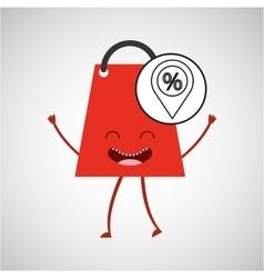 Bag shopping concept pin discount percent commerce vector