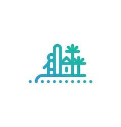 Surfer on island with palms icon and logo vector image