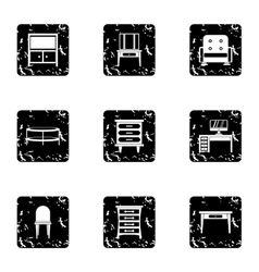 Type of furniture icons set grunge style vector