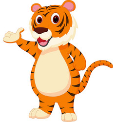 cute tiger cartoon presenting vector image