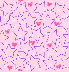 seamless star heart pattern vector image