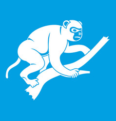 Monkey is climbing up on a tree icon white vector