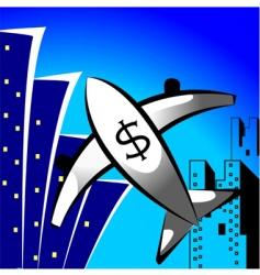 dollar flight vector image
