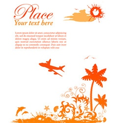 Grunge summer card with starfish airplane element vector